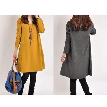CREYUG3 Fashion Maternity Dress Women Pregnance Long Sleeve Casual Loose Dress Autumn Winter = 1946485380
