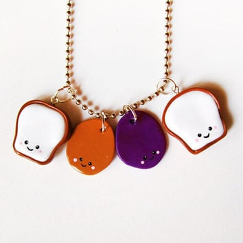 Peanut Butter and Jelly Stacking Sandwich Necklace