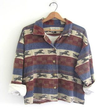vintage 80s womens Horse print shirt / button up shirt // slouchy cropped flannel / size L