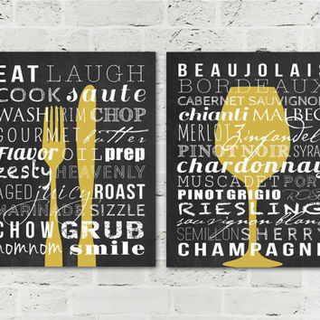 Kitchen Signs - Dining Room Decor Prints - Home Subway Art - Kitchen Wall Decor - Fork Knife - Wine Wall Art - Set of 2 8x10 Digital Prints