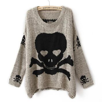 New Fashion Womens Ladies Punk Asymmetric Skull Knit Pullover Jumper Loose Sweater