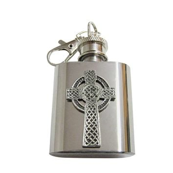 Very Large Celtic Cross 1 Oz. Stainless Steel Key Chain Flask