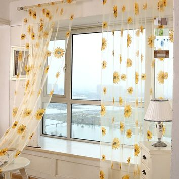 5 Colors Sunflower Pattern Tulle Curtains Kitchen Balcony Room Floral Window Blind