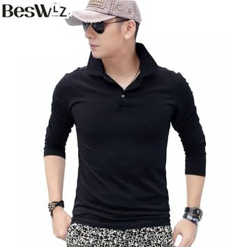 Beswlz Spring Autumn Men Top Polo Shirt Long Sleeve Turn-down Collar Male Polo Cotton Slim Classical Casual Men Clothing Polo