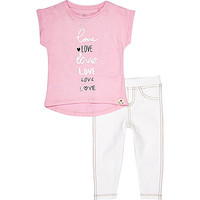 River Island Mini girls pink love t-shirt leggings outfit