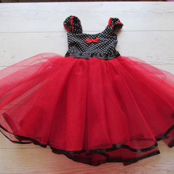 Red and Black Tutu Dress, Minnie Mouse Tutu Dress, Halloween Tutu Dress, Party Dress