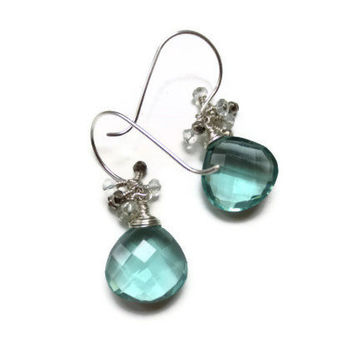 Sea Green Amethyst Quartz, Aquamarine, and Silver Pyrite Sterling Silver Cluster Earrings ... April Showers