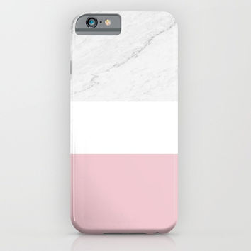 Marble And Dusty Pink iPhone & iPod Case by ARTbyJWP
