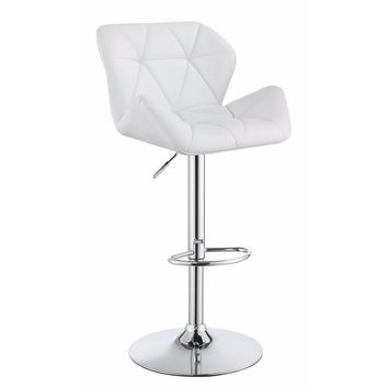 Adjustable Bar Stool with Chrome Base, White ,Set of 2