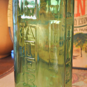 Vintage 40 oz Green Glass Juice Water Refrigerator Pitcher Jar Made for Sunsweet Prune Juice
