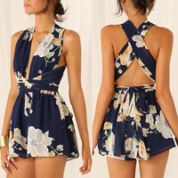 Fashion Sexy Flower Print Deep V Sleeveless Backless Crisscross Bandage Mini Dress