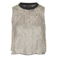 Lace Overlay Shell Top by Topshop Reclaim - Nude