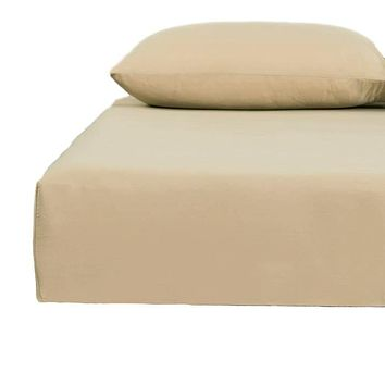 DaDa Bedding Luxurious 100% Cotton Tan Beige Fitted Sheet and Pillowcase Set (JHW-546-Fitted)