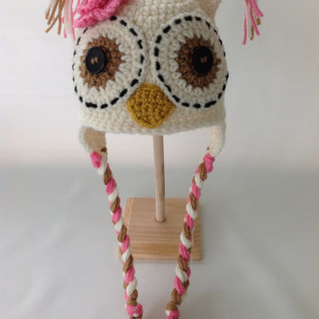 Crochet Baby Hat - Baby Girl Owl Hat - Baby Girl Hat - Crochet Owl Hat - Newborn Owl Hat - Infant Owl Hat - Baby Animal Hat
