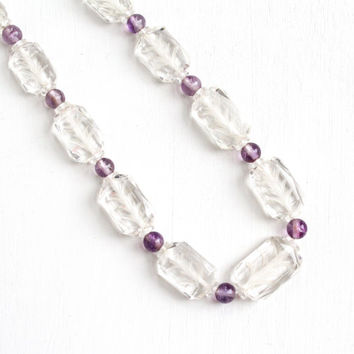 Vintage Genuine Rock Crystal & Amethyst Bead 14k White Gold Filigree Clasp Necklace - Art Deco Carved Clear Quartz Gemstone Fine Jewelry