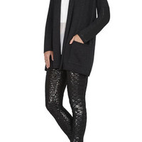 BCBG Chelsey Faux-Leather Sleeve Cardigan