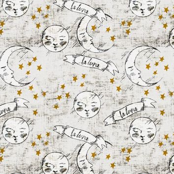 zodiac_la_luna_light gold stars fabric - holli_zollinger - Spoonflower
