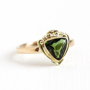 Green Tourmaline Ring - Vintage 14k Rosy Yellow Gold Trilliant Cut Green Gemstone - Size 6 1/2 Pin Conversion Fine Engagement Jewelry