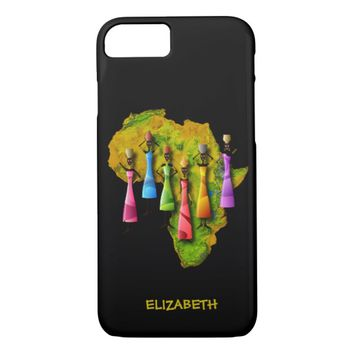 African Women In Colorful Dresses On Africa Map iPhone 7 Case