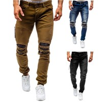Mens Jeans ripped knee leather torn cool damaged biker jeans