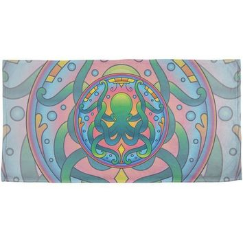 CREYCY8 Mandala Trippy Stained Glass Octopus All Over Beach Towel