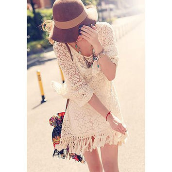 Apricot Floral Pattern Long Sleeve Lace Mini Dress