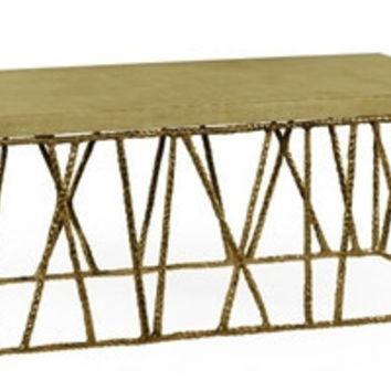 Brass hammered coffee table with celadon top