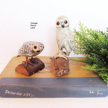 2 Vintage Folk Art Carved Owl / Bird Sculptures, Handmade Bohemian / Natural Decor