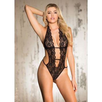 Stretch Lace Teddy w/Deep V Front, Attached Elastic Strips, Halter Tie & String Back Black MD