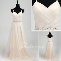 Tulle Sweetheart A Line Prom Gown With Spaghetti Straps