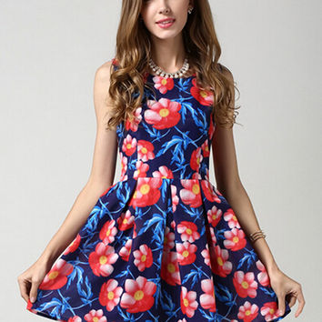Blue High Waist Sleeveless Skater Dress with Red Floral Print Details