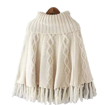 Beige Turtleneck Tassel Hem Knitted Cape Jumper
