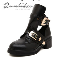 Luxury Women's Leather Buckle Ankle Boots