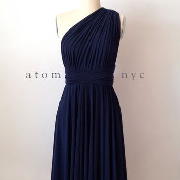 Navy Blue Infinity Dress Convertible Formal Multiway Wrap Dress Bridesmaid Dress Toga Dress Cocktail Dress Evening Dress Short