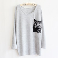 New style womens clothing decoration long sleeve round neck knit loose pocket  by ClothLess