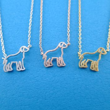 Labrador Retriever Dog Shaped Pendant Necklace in Silver Gold or Rose Gold