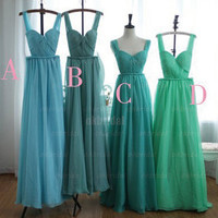 Tiffany blue bridesmaid dress, long prom dress, chiffon bridesmaid dress, Wedding bridesmaid dress, Cheap prom dress, RE256