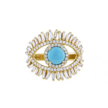 Large Diamond and Turquoise Evil Eye Ring - Yellow Gold