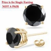 1/9 (0.10-0.13) Cts Round AA Black Diamond Mens Stud Earring in 14K Yellow Gold