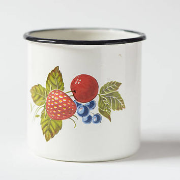 Red strawberry cherry pattern camping mug vintage Soviet enamelware white traveller mug metal mug fun kitchen USSR very good condition