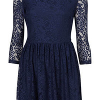 Lace Peter Pan Dress - Fit & Flare Dresses - Dresses  - Clothing