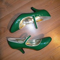 60's style patent leather strappy green shoe by cdoylewo on Sense of Fashion