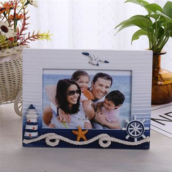 4x6 inch Mediterranean Photo Frame Blue and White Creative Lighthouse Rudder Photo Frame Home Photo Frame Decoration