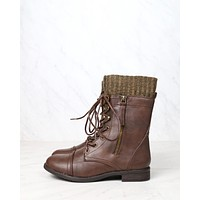 Final Sale - The Combat Sweater Cuff Mid Calf Boots in Brown