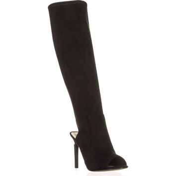 Nine West Lettie Tall Open Heel Open Toe Fashion Boots, Black, 10 US