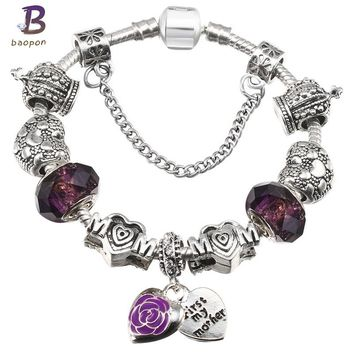 BAOPON Queen Jewelry Silver Plated Charms Bracelet & Bangles With First my Mother Beads Fine Bracelet for Mom BR644