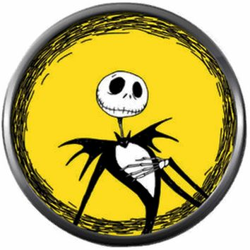 Sassy Jack On Yellow Halloween Town Nightmare Before Christmas Jack Skellington 18MM - 20MM Charm for Snap Jewelry New Item