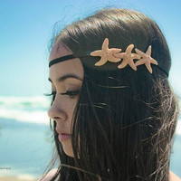 Starfish Headband - Triple Sugar Starfish Hippie Headwrap - Boho Cute Romantic Whimsical Dreamy Sea Stars Summer Fashion Mermaid Collection