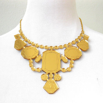 Gold Mirror Laser Cut Statement Necklace - Bib Engraved Geometric Jewels Acrylic Prom Jewelry