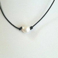 Pearl and leather choker, baroque pearl choker,  leather and  pearl necklace, leather and pearl necklace, single pearl choker, white pearl